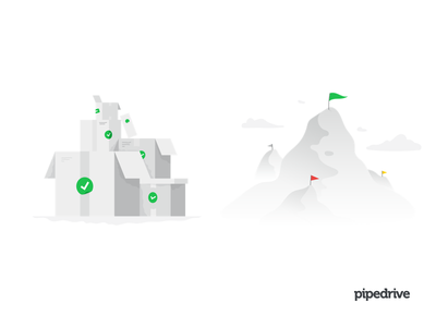 Infographic illustrations task done illustration boxes box mountain pipedrive