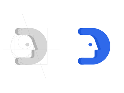 """ID"" Logo d face logo face grid golden ration brand logo id"