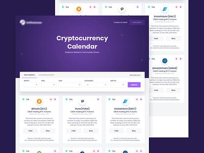Cryptocurrency calendar ui website blockchain calendar bitcoin crypto