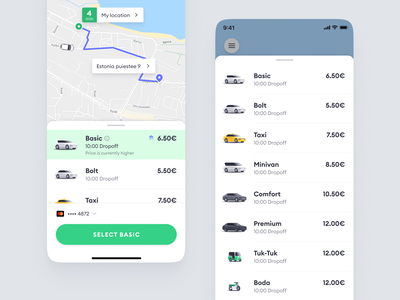 Bolt categories selection dropoff price hailing ride mobile app mobile figma cars icons categories ridehailing