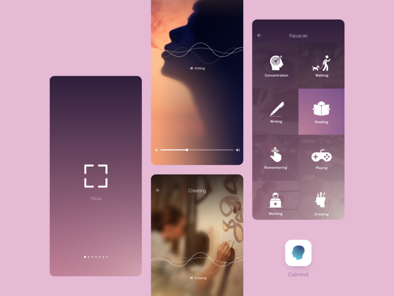 Calmind 2.0 focus productivity mental health health ios app mobile application mobile ui mobile app branding product minimalist ui simple design
