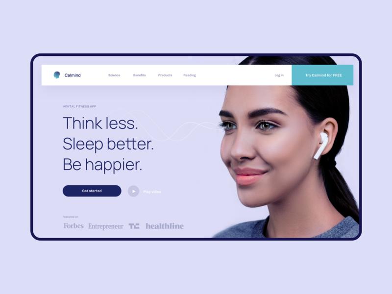Calmind.com mental health health app clean branding simple creative product website ui design
