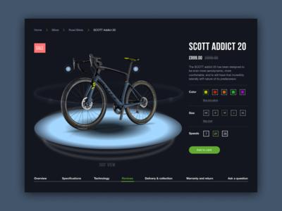 Bike Store Scott - website concept concept online shop website web ux ui store product minimal landing page landing graphic design dark card bike bicycle shop bicycle 3d 360
