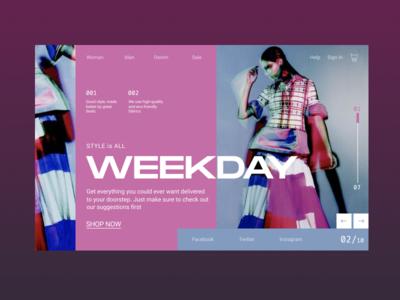 WEEKDAY Online Store Concept graphic minimal website typogaphy studio promo photo marketing interace grid branding agency branding landing web online shop landing page concept ui ux design