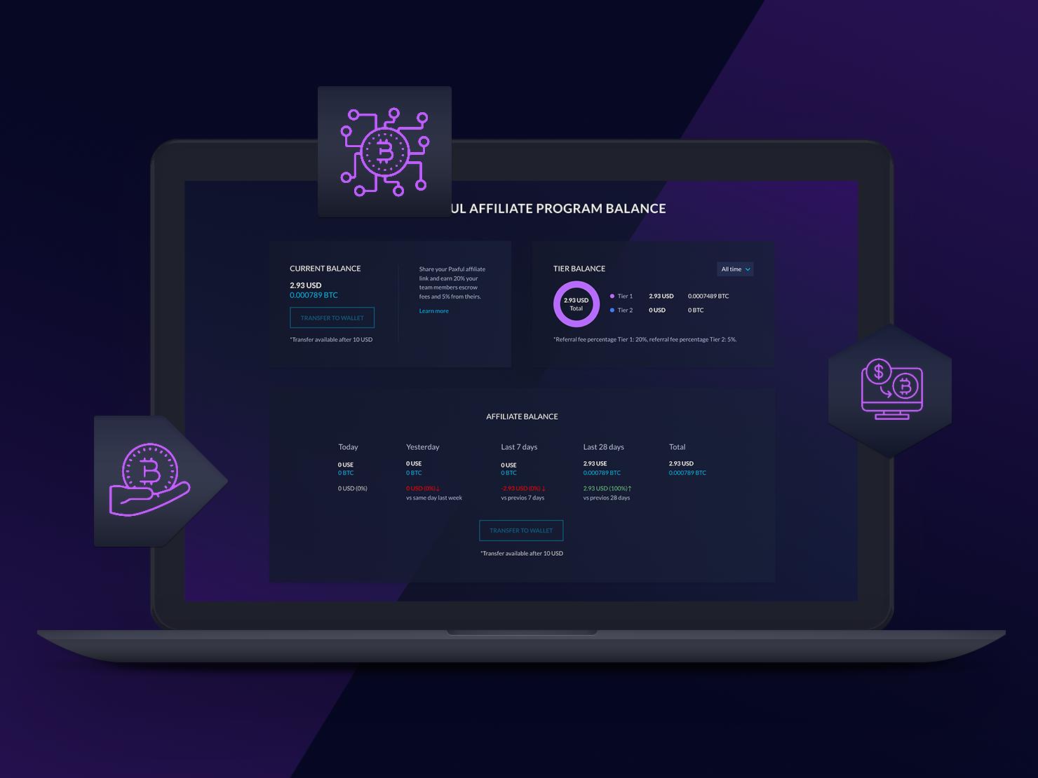 Affiliate Program Balance (Crypto Dashboard) web website visualization ux ui tech technology secure platform modern minimal interface design data dark cryptocurrency crypto blockchain bitcoin balance