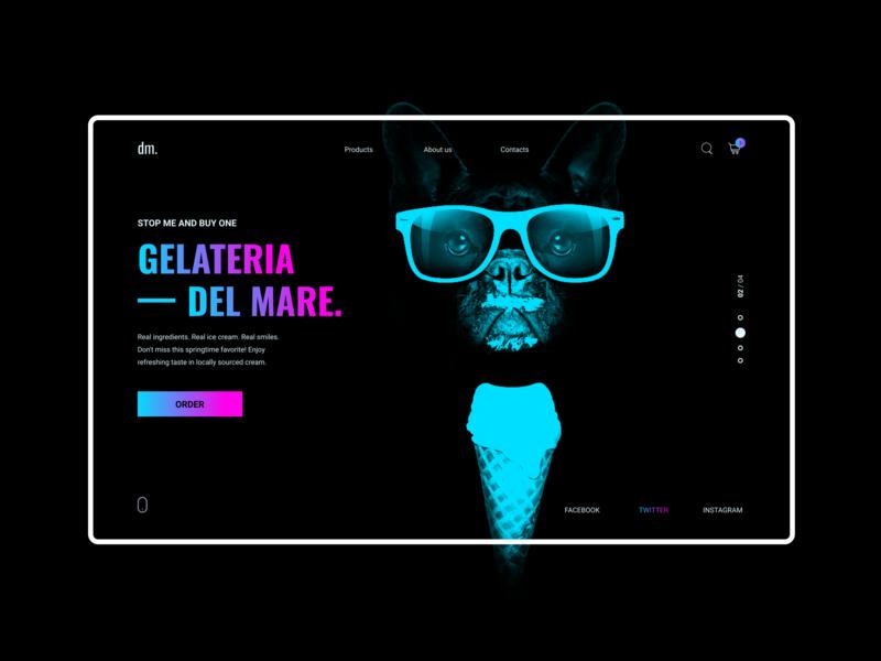 Ice Cream 🍦 gradient minimal webdesign website web ux ui site simple online shop modern landing page landing interface ice cream homepage dog design dark black