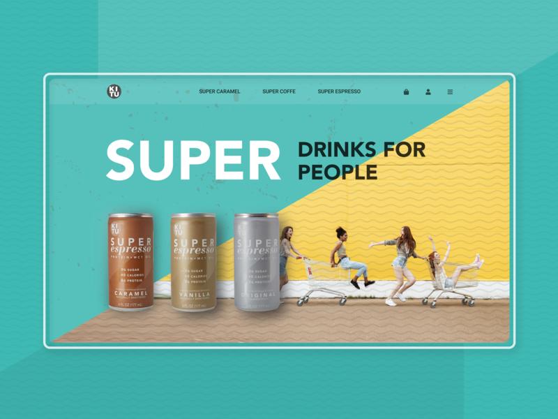 Super Coffee web ux ui store shop promo product online shop online modern minimal landingpage landing girls drinks apple design apple can coffee