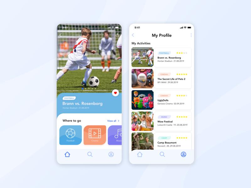 Kids App offer platform ticket icons activity mobile simple minimal iphone ios interface creative colorful cartoon kids children activities app ux ui