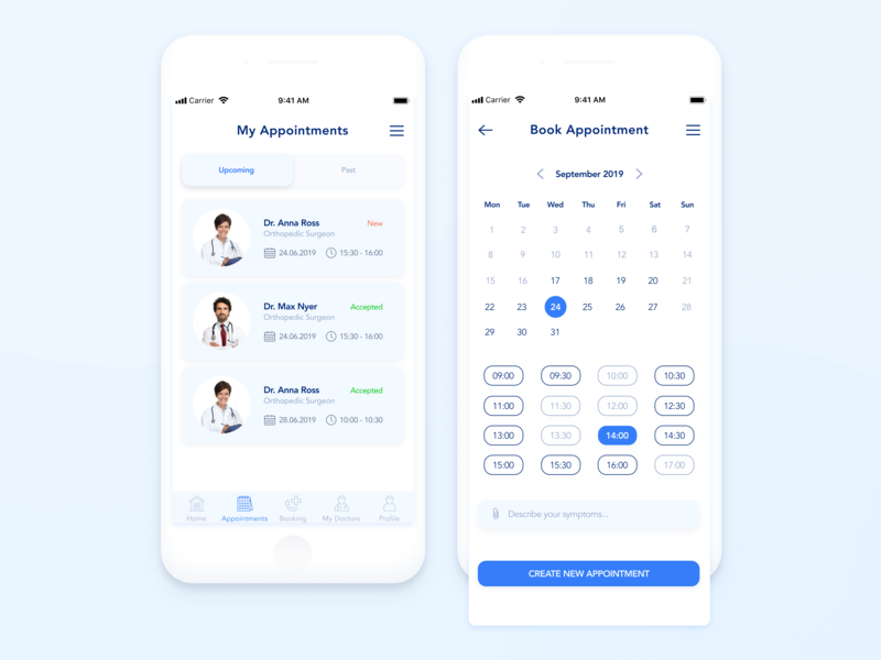 Online consultation with doctors treatment patient online mobile minimal medicine medical ios interface health doctor disease design consultation clean booking appointment app ux ui