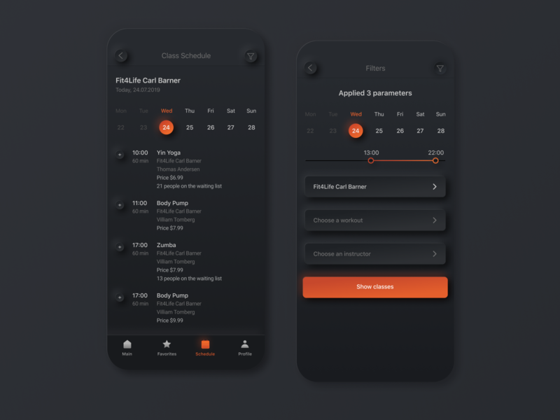 Schedule, filter. Mobile application for fitness centres schedule app digital sport fitness concept interface mobile training booking schedule filter ios app minimal design ux ui