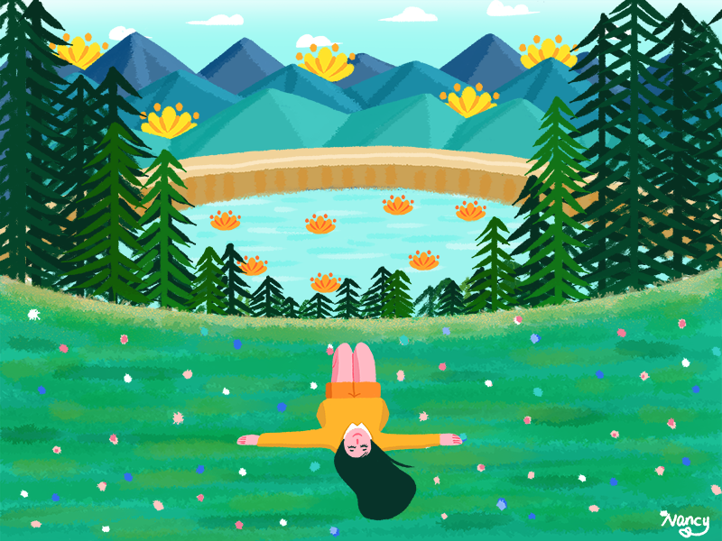 Leisure time lake break happy lie mountain girl forest leisure time summer illustration