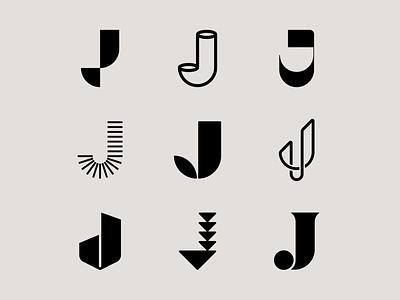 Letter J exploration lines leaf organic j logo letter j lettering tech logo lettermark letter exploration logotype monogram geometric typography brand identity branding logo design minimal logo