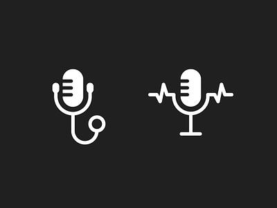 Doctors Unbound logo concepts lines medical stethoscope lifeline ecg podcast doctor microphone illustration geometric simple brand identity branding logo design logo minimal