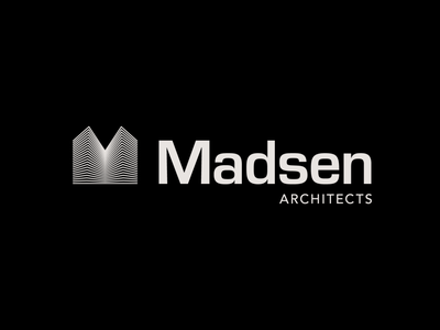 Madsen Architects logo concept m logo building letter logo logomark construction visual identity corporate identity lines 3d logo optical illusion architecture logo architecture architect lettermark logotype geometric brand identity branding logo design logo
