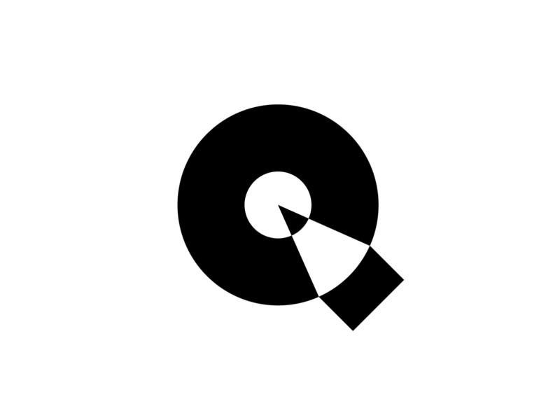 Q + pencil mark symbol logomark bold negative space logo negative space pencil q logo letter q lettermark geometric simple brand identity branding minimal logo design logo