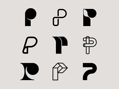 Letter P exploration letter p logo elegant abstract logo 3d logos organic paper p logo letter p letter exploration lettermark monogram geometric typography brand identity branding minimal logo design logo