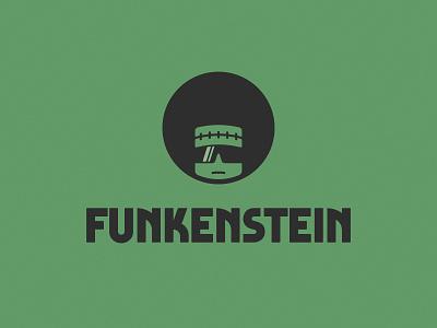 Funkenstein monster hair funky funk texture 70s retro logo retro vintage logo vintage afro sunglasses frankenstein illustration typography minimal logo design logo