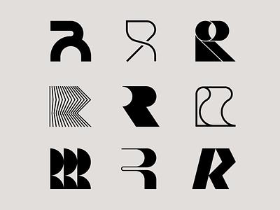 Letter R exploration letter logo type design typeface letter r logo r logo 3d logo tech logo organic letter exploration lettermark monogram simple geometric typography brand identity branding minimal logo design logo