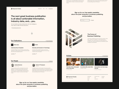 Paperwork Studios website web design simple modernist articles newsletter typographic clean landing page homepage journalism brutalist midcentury website ux design ui design ux ui typography