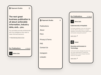 Paperwork Studios website - mobile minimal clean menu ui design landing page faq mobile articles publications journalism brutalist typographic typography midcentury modernist ui ux ux ui website mobile website