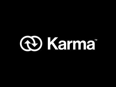 Karma logo twisted karma modernist circles arrows thick lines bold logomark simple geometric typography brand identity branding minimal logo design logo