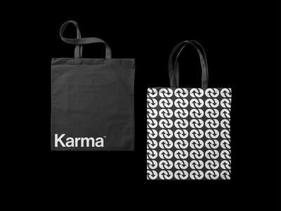 Karma logo applications visual identity corporate identity modernist minimalist circles arrows container tote bag pattern logomark logotype geometric brand identity branding minimal logo design logo