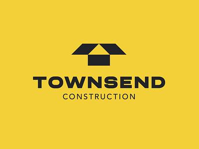 Townsend Construction logo building negative space letter t t logo architecture house roof construction lettermark monogram simple geometric typography brand identity branding minimal logo design logo