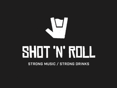 Shot 'N' Roll pub bar industrial negative space logo negative space shot drink rock and roll rock hand horns typography brand identity branding logo design logo