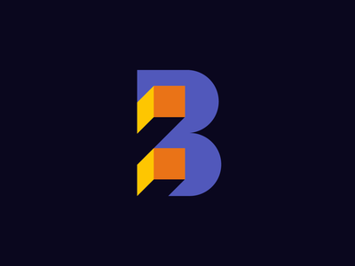Letter B logo concept cube block tech colorful 3d logo b logo letter b tech logo lettermark monogram simple geometric typography brand identity branding minimal logo design logo
