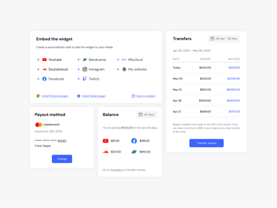 Tipping platform UI components dashboard finance component ui design simple minimal web design table product design transactions list balance card payment transfers embed web app fintech tipping uiux