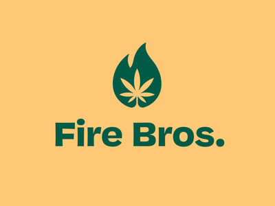 Fire Bros. logo design negative space logo negative space cannabis logo dispensary clean marijuana weed flame fire plant organic cannabis simple brand identity branding logo design logo