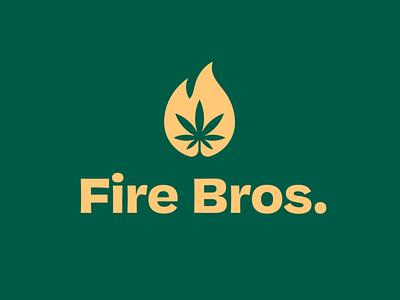 Fire Bros. logo design negative space logo negative space cannabis logo dispensary clean marijuana weed flame fire plant organic cannabis simple brand identity branding logo design logo