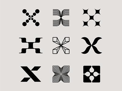 Letter X exploration letters 3d logo letter logo lines drop star tech logo organic letter x x logo letter exploration lettermark monogram geometric typography brand identity branding minimal logo design logo
