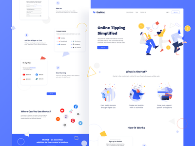 theHat landing page finance geometric creativity creative colorful how it works home page saas fintech music tipping playful friendly fun illustration web design landing page ui  ux ui design ui