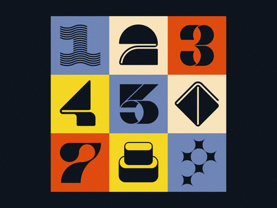 36 Days of Type 2021: 1–9 colorful retro custom type lettering number 7 number 9 number 4 number 3 letter logo font type design number design numbers alphabet geometric typography brand identity branding logo design logo