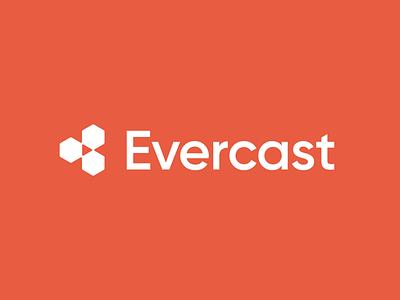 Evercast logo concept teamwork remote team clean negative space play streaming media collaboration saas digital product tech geometric brand identity branding minimal logo design logo