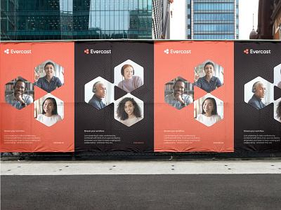 Evercast brand exploration geometric corporate design poster billboard media play tech teamwork remote collaboration visual identity typography brand identity branding minimal logo design logo