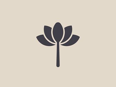 Mindful Eats (unused logo concept) healthy food healthy leaves plant food logo lotus flower spoon organic brand identity branding minimal logo design logo