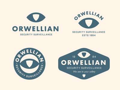 Orwellian logo concept system circular logo badge logo shield dystopia industrial vintage retro 1984 orwell surveillance security eye badge logotype typography brand identity branding logo design minimal logo