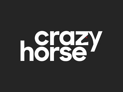 Crazy Horse typographic logo simple brand identity branding horse logo bold wordmark animal horse negative space logo logotype typography logo design minimal logo