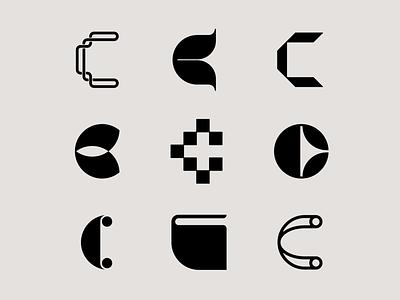 Letter C exploration bold type brand identity branding c logo lettermarkexploration lettermark logo lettermark letter c logomark letter exploration geometric logotype monogram simple typography logo design minimal logo
