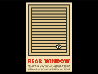 Rear Window poster design film poster film lines eye hitchcock vintage cinema movie art movie poster poster art movie poster design poster illustration simple typography minimal