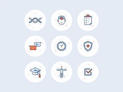 DNA testing icon set set icons health testin dna