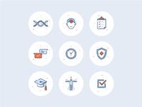 DNA testing icon set