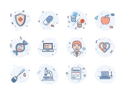 DNA testing illustrations set illustration set icons health testin dna