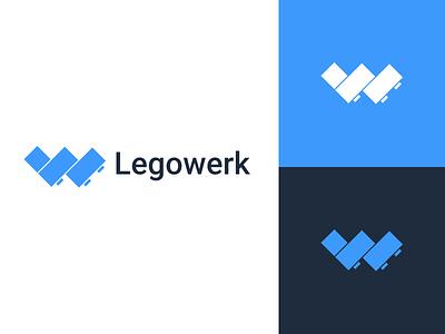 Legowerk logo lego blue branding logo