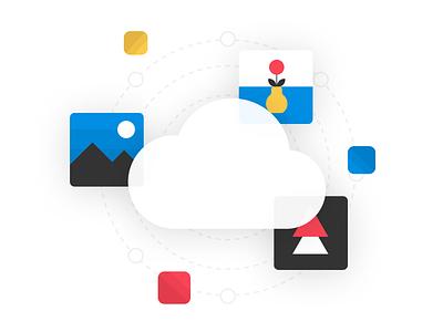 Smart cloud storage figma design web illustration