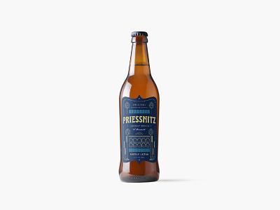 Priessnitz Beer Design branding beer branding product packaging product design beer label health resort beer brand identity logo typography simple design minimalism
