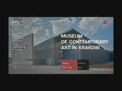 MOCAK MUSEUM graphicdesign product uiux museum typography poland krakow design ui art website minimal card menu