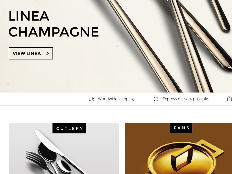 Webshop  luxury icons shipping magento shop webshop italian lifetsyle cooking pans kitchen cutlery